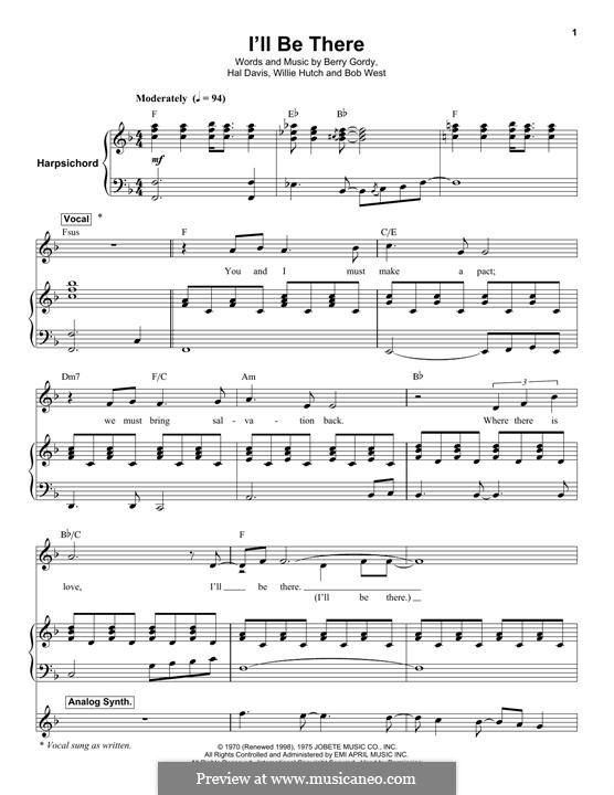 I'll Be There: Für Stimme mit Klavier oder Gitarre (The Jackson 5) by Berry Gordy, Bob West, Hal Davis, Willie Hutch