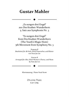 Sinfonie No.3 in d-Moll: Movement V. Version B for Alto solo, SSAA Chorus by Gustav Mahler