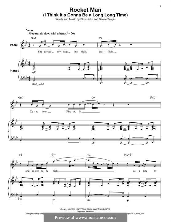 Rocket Man (I Think It's Gonna Be a Long Long Time): Für Stimme und Klavier (oder Gitarre) by Elton John