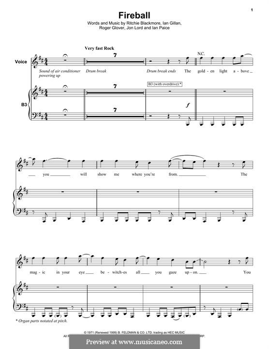 Fireball (Deep Purple): Für Stimme und Klavier (oder Gitarre) by Ian Gillan, Ian Paice, Jon Lord, Ritchie Blackmore, Roger Glover