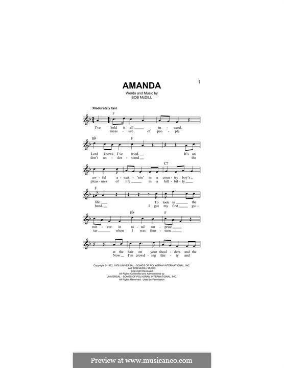 Amanda (Waylon Jennings): Melodische Linie by Bob McDill