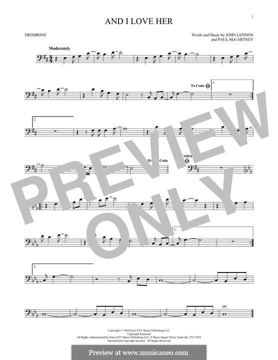 And I Love Her (The Beatles): For trombone by John Lennon, Paul McCartney