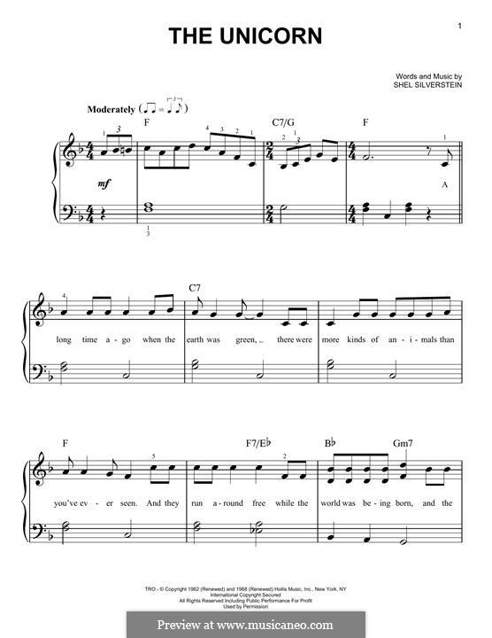 The Unicorn: Für Klavier by Shel Silverstein