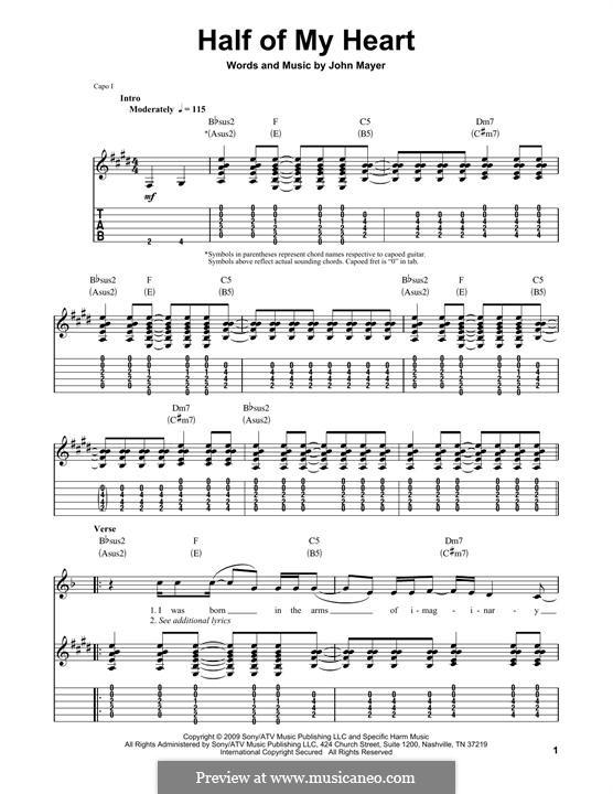 Half of My Heart (John Mayer featuring Taylor Swift): Für Gitarre mit Tabulatur by John Mayer