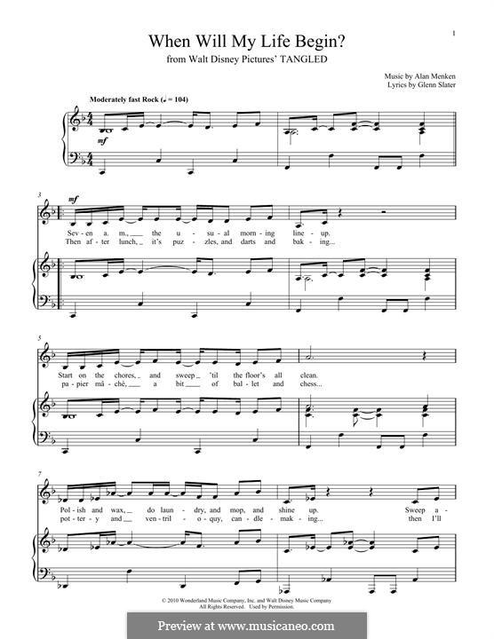 When Will My Life Begin: Für Stimme und Klavier by Alan Menken