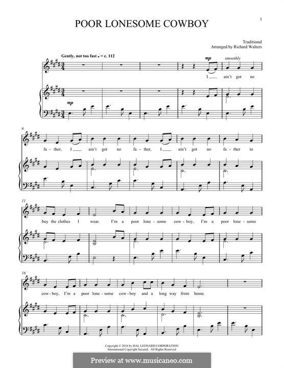 Poor Lonesome Cowboy: Für Stimme und Klavier by folklore