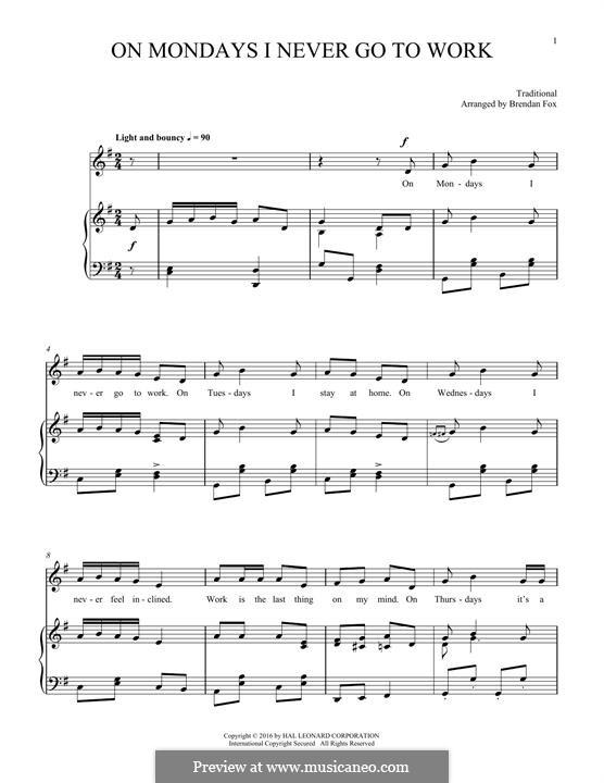 On Mondays I Never Go To Work: Für Stimme und Klavier by folklore