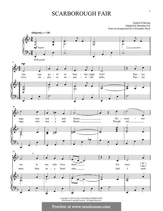 Scarborough Fair: Für Stimme und Klavier by folklore