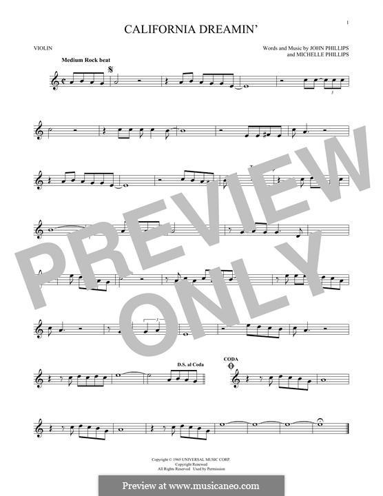 California Dreamin' (The Mamas & The Papas): Für Violine by John Phillips, Michelle Phillips