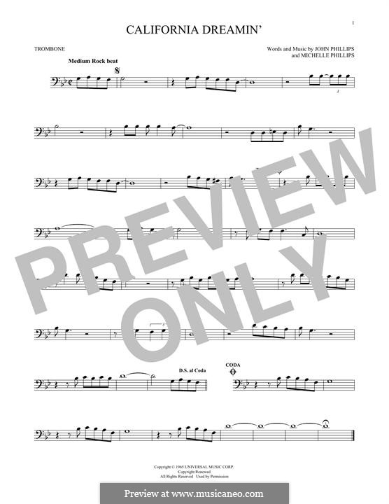 California Dreamin' (The Mamas & The Papas): For trombone by John Phillips, Michelle Phillips