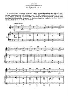 Dreissig Tägliche Übungen, Op.11: Für hohe Stimme by Giuseppe Concone