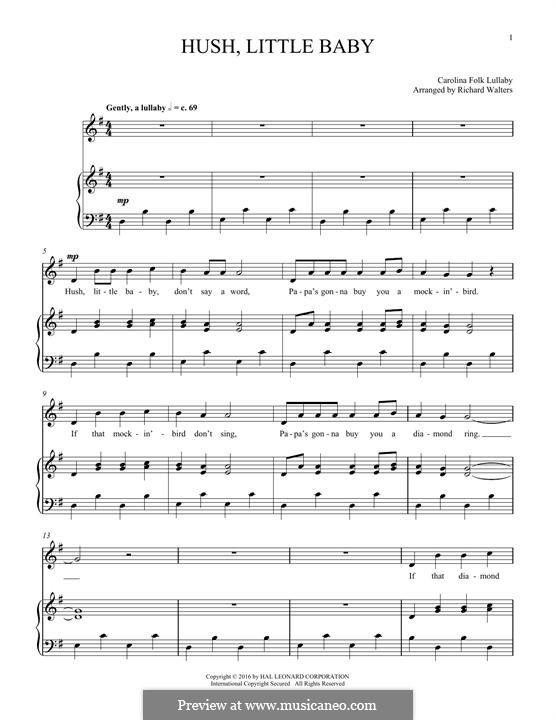 Hush Little Baby: Für Stimme und Klavier by folklore