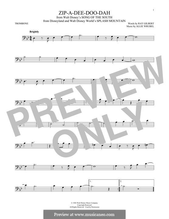 Zip-A-Dee-Doo-Dah: For trombone by Allie Wrubel