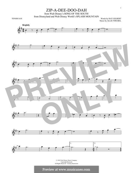 Zip-A-Dee-Doo-Dah: Für Tenorsaxophon by Allie Wrubel