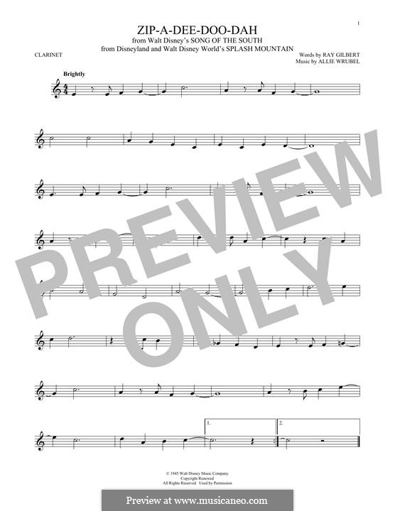 Zip-A-Dee-Doo-Dah: Für Klarinette by Allie Wrubel