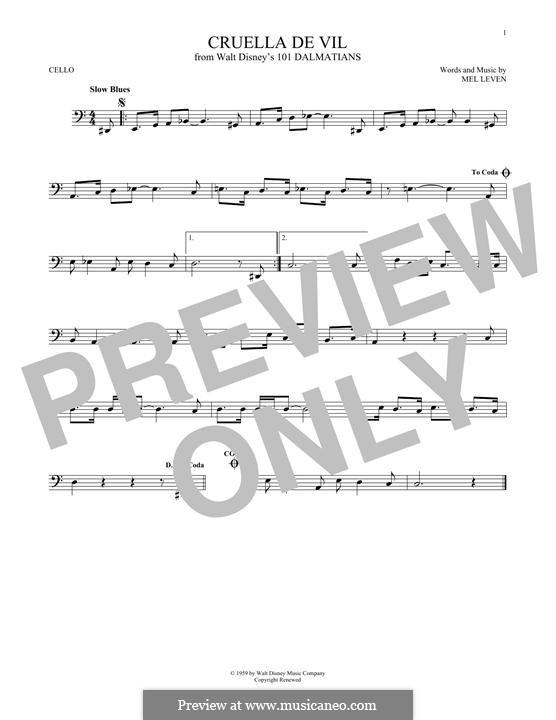 Cruella de Vil (from 101 Dalmatians): Für Cello by Mel Leven
