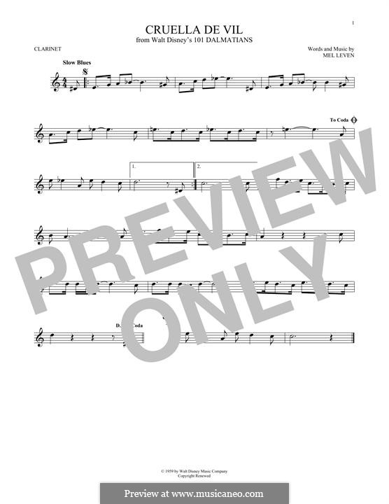Cruella de Vil (from 101 Dalmatians): Für Klarinette by Mel Leven