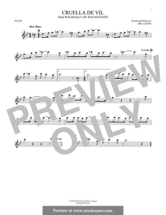 Cruella de Vil (from 101 Dalmatians): Für Flöte by Mel Leven