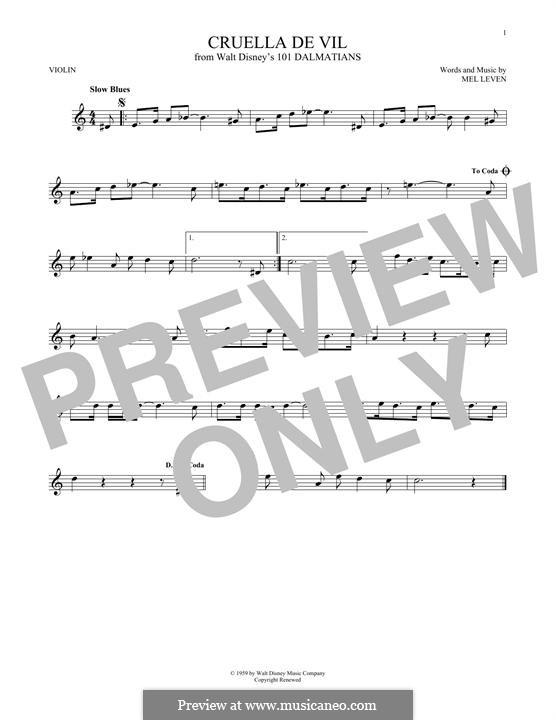 Cruella de Vil (from 101 Dalmatians): Für Violine by Mel Leven