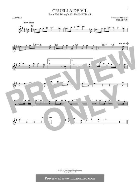 Cruella de Vil (from 101 Dalmatians): Für Altsaxophon by Mel Leven