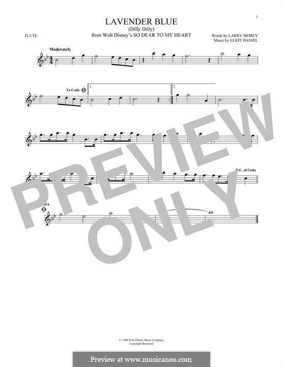 Lavender Blue (Dilly Dilly): Für Flöte by Eliot Daniel, Larry Morey