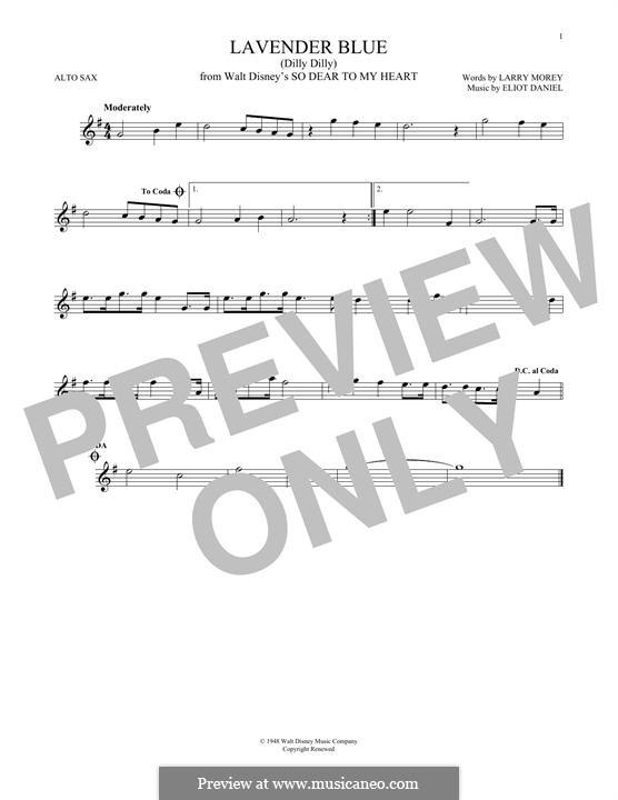Lavender Blue (Dilly Dilly): Für Altsaxophon by Eliot Daniel, Larry Morey