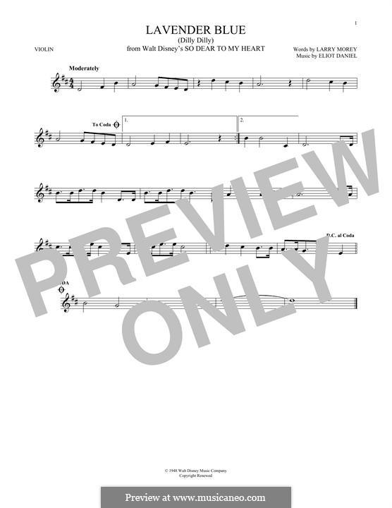 Lavender Blue (Dilly Dilly): Für Violine by Eliot Daniel, Larry Morey