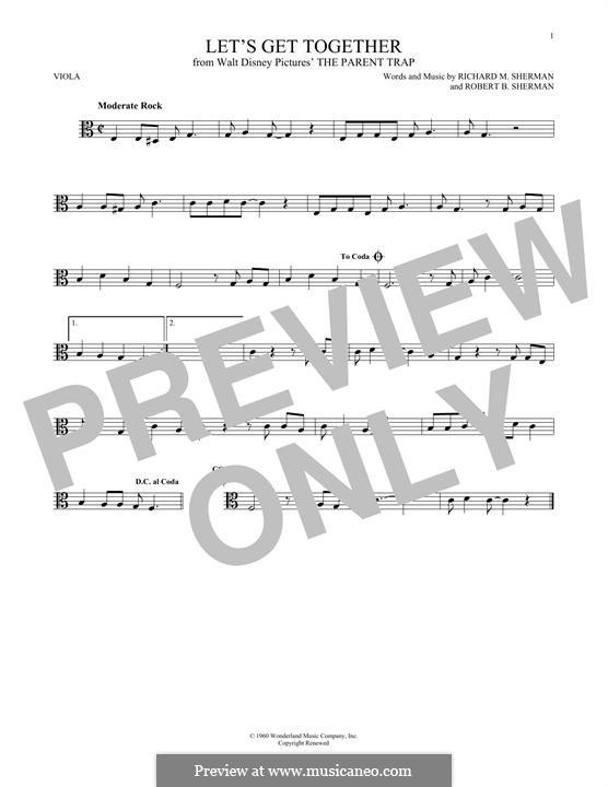 Let's Get Together: For viola by Richard M. Sherman, Robert B. Sherman