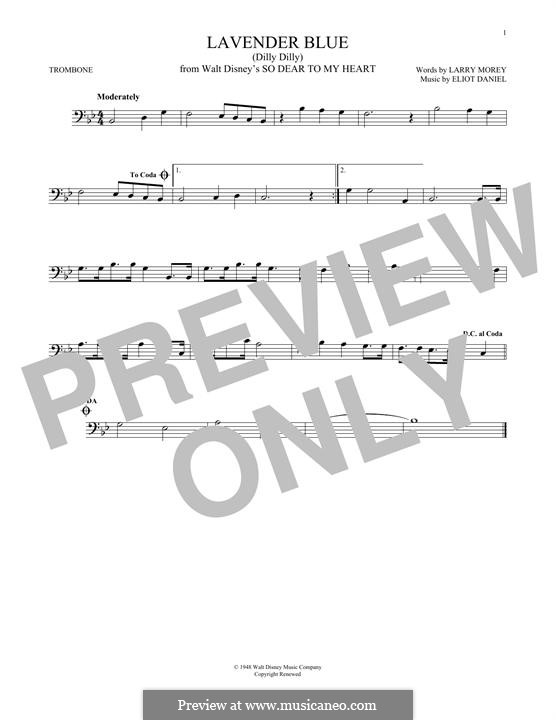 Lavender Blue (Dilly Dilly): For trombone by Eliot Daniel, Larry Morey