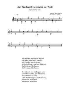 Am Weihnachtsabend in der Still: For guitar solo (a minor) by folklore