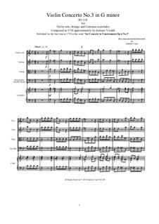 Sechs Konzerte für Streicher, Op.6: Concerto No.3 in G Minor – score and all parts, RV 318 by Antonio Vivaldi