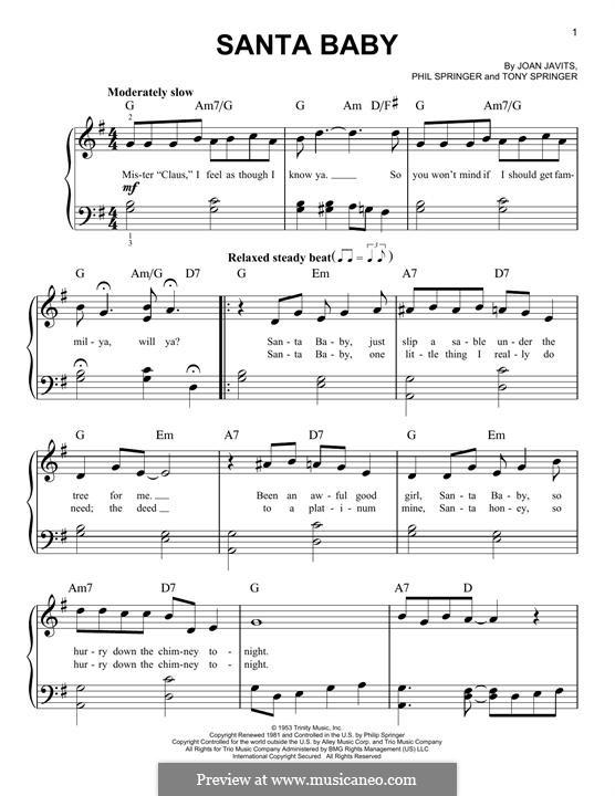 Santa Baby (Eartha Kitt): Für Klavier (mit Text) by Joan Javits, Philip Springer, Tony Springer