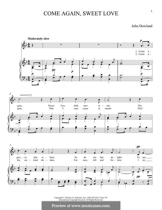 Come Again: Für Stimme und Klavier by John Dowland