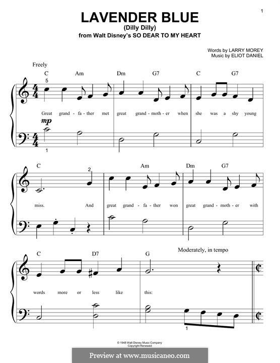 Lavender Blue (Dilly Dilly): Für Klavier by Eliot Daniel, Larry Morey