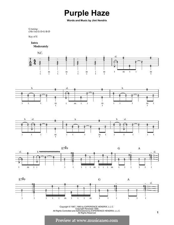 Purple Haze: For banjo by Jimi Hendrix