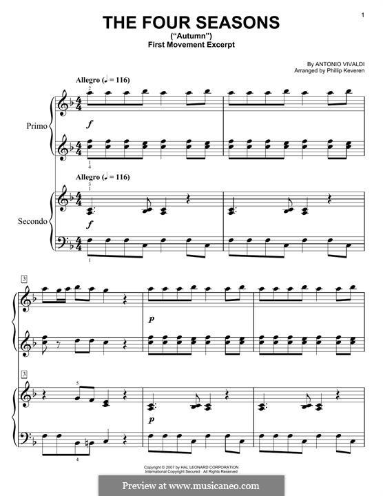 Violinkonzert Nr.3 in F-Dur 'Herbst', RV 293: Für Klavier by Antonio Vivaldi