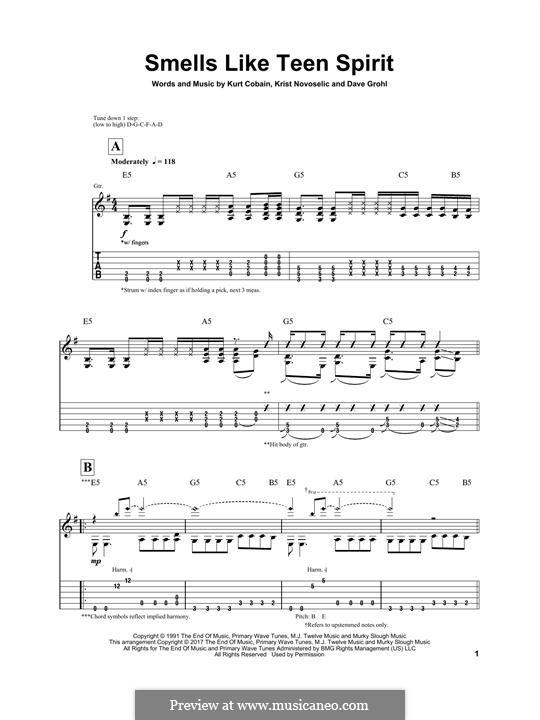 Smells Like Teen Spirit (Nirvana): Für Gitarre mit Tabulatur by David Grohl, Krist Novoselic, Kurt Cobain