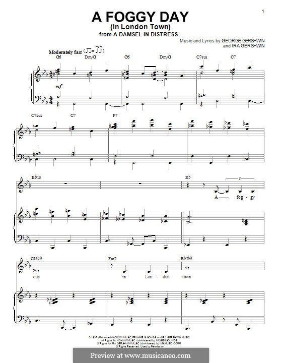 A Foggy Day (In London Town): Für Stimme und Klavier (Frank Sinatra) by George Gershwin