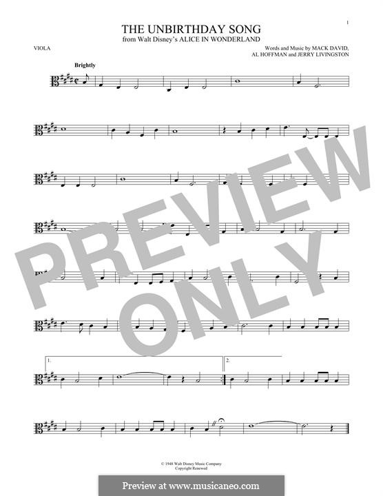 The Unbirthday Song: For viola by Al Hoffman, Jerry Livingston, Mack David