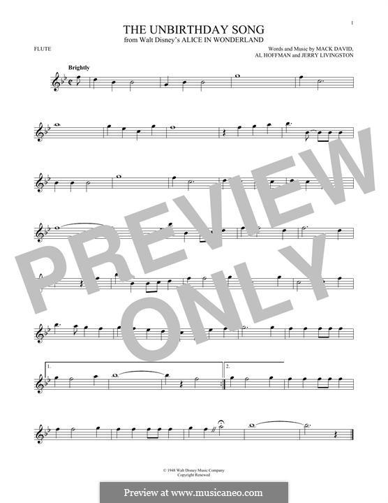 The Unbirthday Song: Für Flöte by Al Hoffman, Jerry Livingston, Mack David