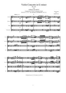Sechs Konzerte für Streicher, Op.6: Concerto No.1 in G Minor. Version for string quartet, RV 324 by Antonio Vivaldi