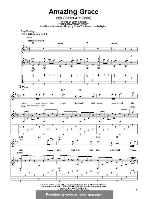Amazing Grace (Printable Scores): Für Gitarre mit Tabulatur by folklore