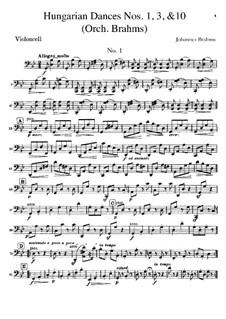 Nr.1, 3, 10: Für Orchester – Cellostimme by Johannes Brahms