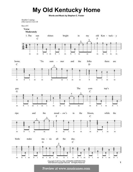My Old Kentucky Home Good-Night: For banjo by Stephen Foster
