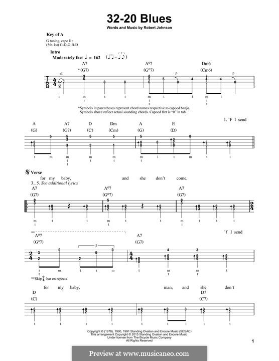 32-20 Blues (Eric Clapton): For banjo by Robert Leroy Johnson