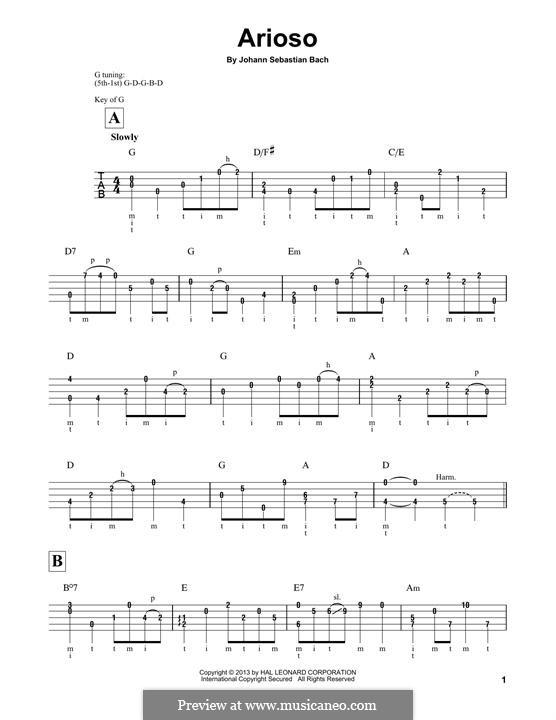 Teil II: Arrangement for banjo by Johann Sebastian Bach