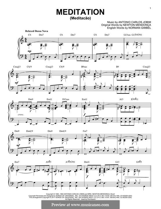 Meditation: Für Klavier by Antonio Carlos Jobim