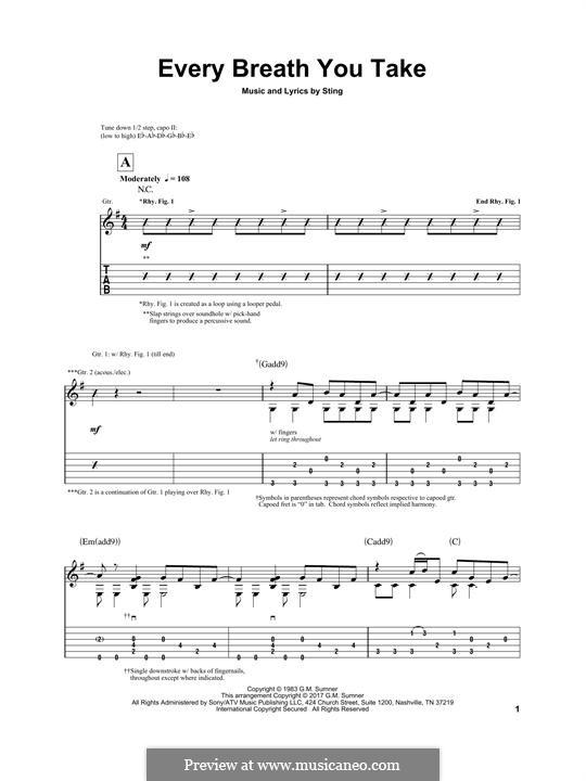 Every Breath You Take (The Police): Für Gitarre mit Tabulatur by Sting
