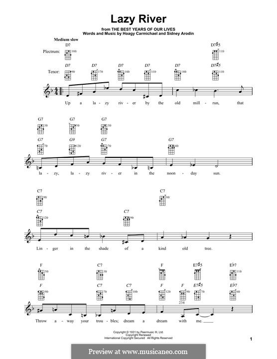 Lazy River (Bobby Darin): For banjo by Hoagy Carmichael, Sidney Arodin