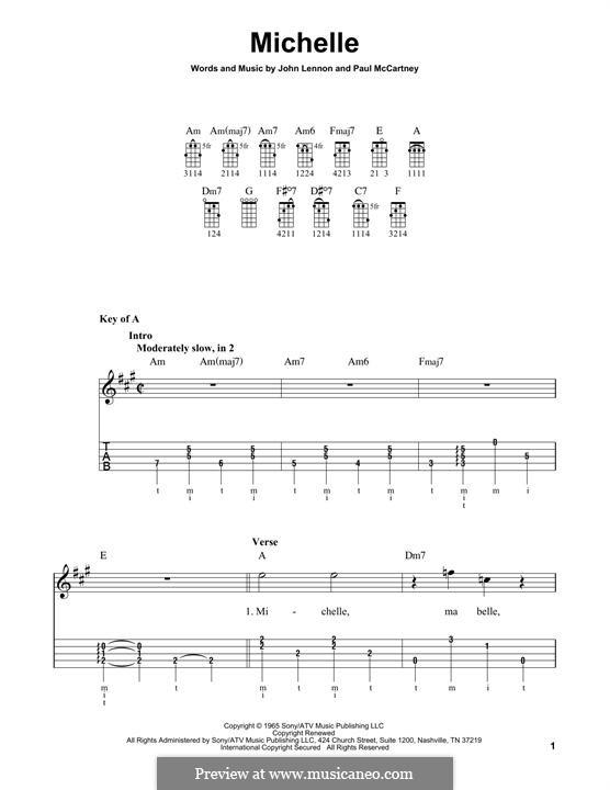 Michelle (The Beatles), for One Instrument: For banjo by John Lennon, Paul McCartney